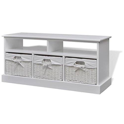 vidaXL Storage Bench Cabinet Dresser Shelves Wicker Baskets Low Hallway White (Bench Wicker Baskets Storage)