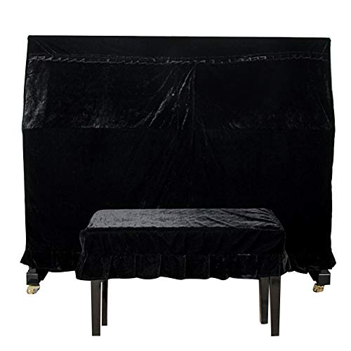 Upright Piano Cover, Velvet Piano Dust Cover Full Piano Dust Proof Decorated Cover, Double Bench Cover Decorated with Macrame for Universal Upright Vertical Piano(Black)