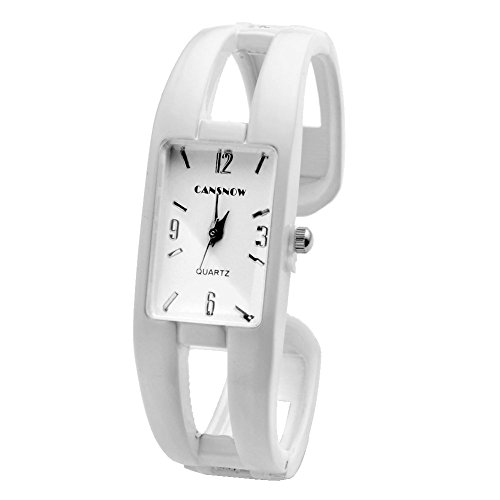 Vintage White Wrist Watch (Top Plaza 1pc White Vintage Enamel Bracelet Watch Bangle Quartz Watch for Women with Rectangle)