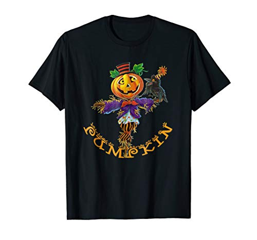 Cool Halloween Pumpkin Scarecrow T-Shirt Cute Fall Tee ()