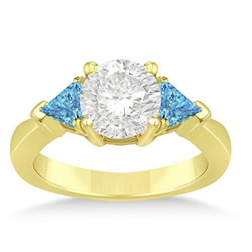 Trilliant Yellow Ring - Allurez Blue Topaz Three Stone Trilliant Engagement Ring 14k Yellow Gold (0.70ct)