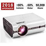 Crenova XPE496 2018 Upgraded Projector – 2200 Lumens (+80%) Home Projector – Portable Video Projector – Compatible with PC/Mac/TV/DVD/iPhone/iPad/USB/SD/AV/HDMI for Home Theater/Outdoor/Video Games