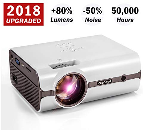 Crenova XPE496 2018 Upgraded Projector – 2200 Lumens (+80%) Home Projector – Portable Video Projector – Compatible with PC/Mac/TV/DVD/iPhone/iPad/USB/SD/AV/HDMI for Home Theater/Outdoor/Video Games by CRENOVA