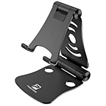 [3 in 1] Portable Foldable Adjustable Cell Phone Stand Tablet Stand Laptop Stand: Pasonomi Aluminum Stand for iPhone, iPad, Samsung Tab, Tablet, Macbook, Accessories Desk (Black)
