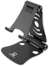 [3 in 1] Portable Foldable Adjustable Cell Phone Stand, Tablet Stand, Pasonomi Aluminum Cradle, Holder, Stand for iPhone, iPad, Tablets, Macbook, Laptops - Black