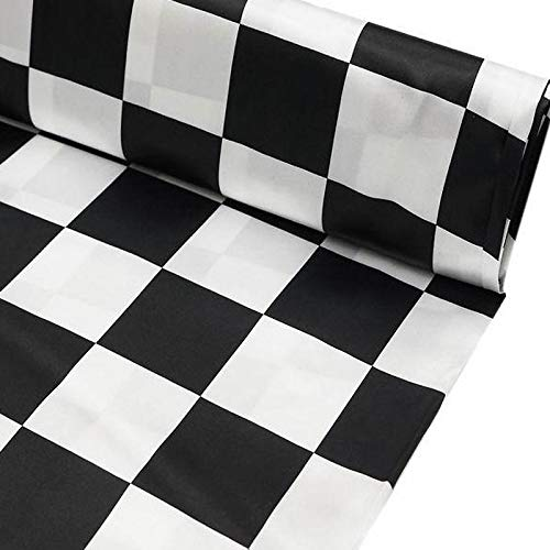BalsaCircle 54-Inch Wide x 10 Yards Black and White Checkerboard Satin Fabric by The Bolt - Sewing Craft Wedding Favors - Checker Fabric