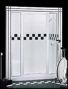 "Basco Thinline Shower Enclosure 125S-2-MY-WI. 65 3/4''x Panel - Door - Panel 38""-40"", Symmetry Glass, Wrought Iron, Glass"