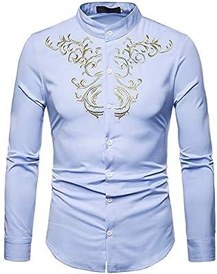 Camisa de vestir slim fit para hombre Hipster bordado de oro para hombre Cuello mandarín Slim Fit Tops Cuello de solapa Camisa de caballero de manga larga con botones Para la fiesta
