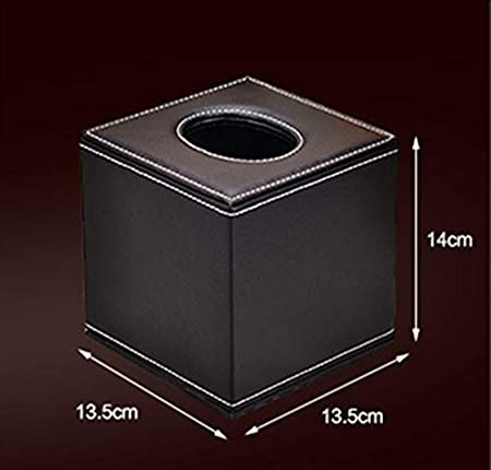 iTemer Cube Tissue Paper Box PU Leather Tissue Box Cover for Home and Office Car Desktop Supplies 14 13.5cm Black 13.5