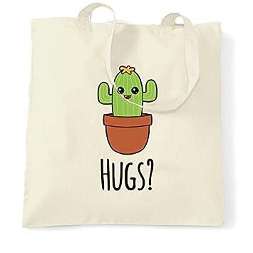 9e8400bff Bolsa de lona con diseño de cactus Wants Hugs Cartoon Drawing Kawaii Desert  Plant Spikey Hipster Face Funny Joke reutilizable ecológico bolsa de la  compra ...