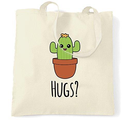 Canvas Tote Bag Cute Cactus Wants Hugs Cartoon Drawing Kawai