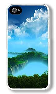 Beautiful Waterfall Custom iPhone 4S Case Back Cover, Snap-on Shell Case Polycarbonate PC Plastic Hard Case Transparent