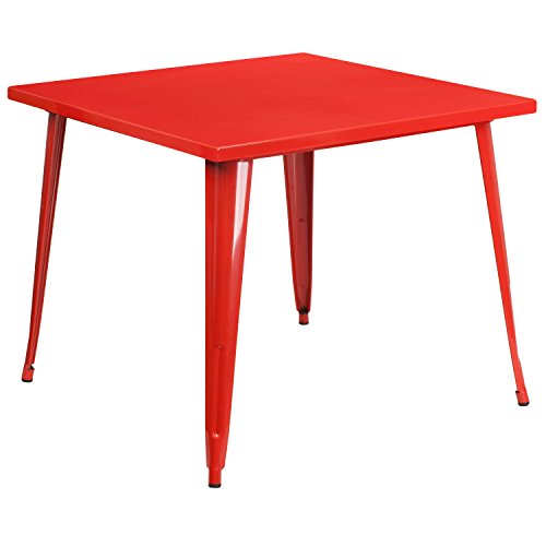 Garden District Metal (Flash Furniture 35.5'' Square Red Metal Indoor-Outdoor Table)