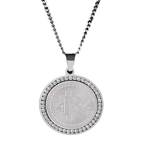Rust Gemstone (Bitcoin Digital Pendant Necklace with 24 inch Chain Rust-Free Stainless Steel Gold Plated Pendant Jewelry World Money Bitcoin Simbol Necklace for Men and Women - Unique,Silvercubanchain)