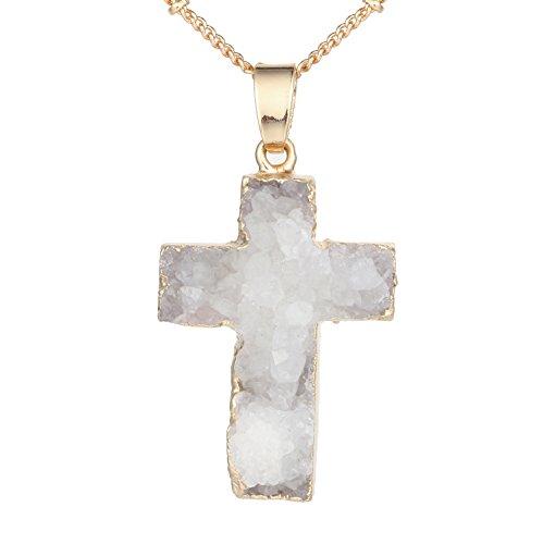 (Bonnie Cross Pendant Natural Stone Quartz Golden Plated Necklace 21