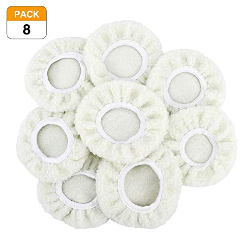 (Racol Car Polisher Bonnet, 8Pcs Car Polisher Pad Bonnet Polishing 7 to 8, 5 to 6 Inch Bonnet Buffing Pad Cover Soft Microfiber for Car Polisher Pack)