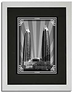 Photo of Damac Tower-Black And White With Silver Border No Text F02-M (A4)