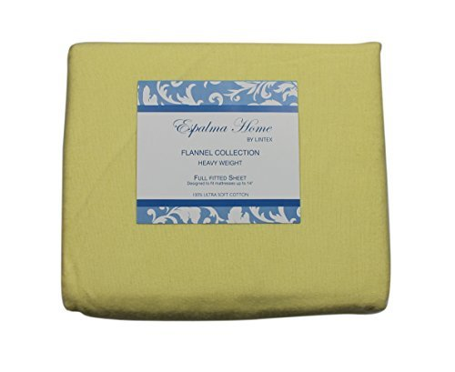 Flannel Fitted Sheet, Full, Yellow, 100% Brushed Cotton, Heavy Weight, 160 Gsm, 1 Fitted Sheet (54'x75') Full Yellow