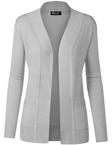 - BH B.I.L.Y USA Women's Open Front Long Sleeve Classic Knit Cardigan Grey X-Large