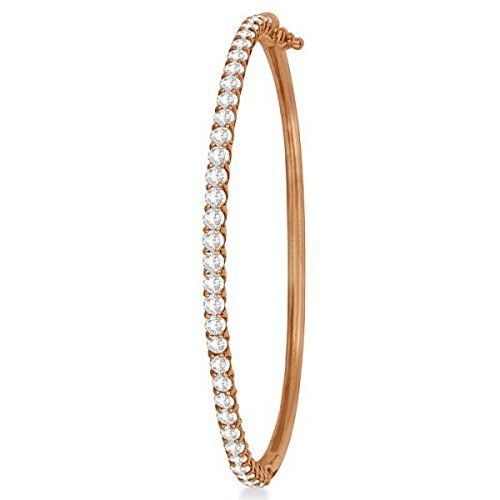 14k Rose Gold Diamond Bangle - Luxury Stackable Diamond Bangle Bracelet 14k Rose Gold (4.00ct)