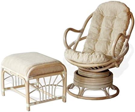 Java Swivel Rocking Chair White Wash White Cushion Handmade Natural Wicker Rattan Furniture