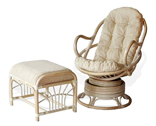 Java Swivel Rocking Chair White Wash White Cushion Handmade Natural Wicker Rattan Furniture Ottoman Krit White Wash
