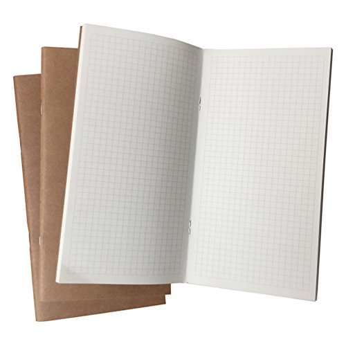 (Travelers Notebook Inserts Grid Paper 3-Pack 4.5 x 8.5 Inch 100gsm Thick Standard Size Graph Refill, 192 Pages - Perfect for Diagrams and Charts)