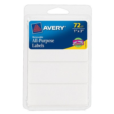 "Avery 06728 1"" X 3"" Rectangular White Removable Labels 72 Co"