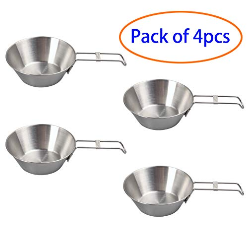 (EASY BIG Foldable Stainless Steel Bowls - Sierra Cup for Outdoor, Camping, Hiking, Picnic, BBQ, Top Dia:4.9