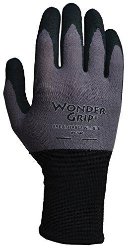 Wonder Grip WG540L Lightweight Breathable Seamless Knit Work Gloves Textured Black Single-Coated Nitrile Palm, (Gauge Works Single)