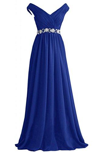 ballo Royal Neckline di V Poretrait formale Line Blue da abito eleganti sera A Sweep Sunvary OxwX8FCxq