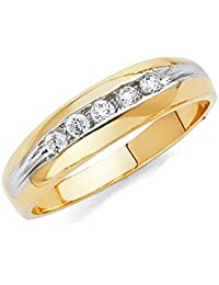 Men's Solid 14k Two 2 Tone White and Yellow Gold Polished CZ Cubic Zirconia Wedding Band