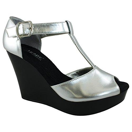 Agape Pierre-49 Ankle Strap Wedge Sandal Silver 4GVli4g