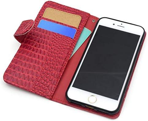 PLATA iPhone7 / iPhone8 ケース 手帳型 クロコダイル レザー スタンド ケース ポーチ カバー ファスナー サイド ポケット付 iPhone 7 / 8 【 レッド 赤 あか red 】 IP7-5051RD