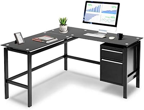 INVIE L-Shaped Desk Home Office Corner Desk PC Laptop Table Workstation Glass Top Computer Desk