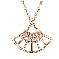 Women's Rose Gold Diamond Pendant Necklace