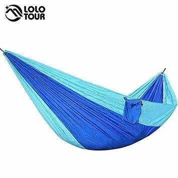 Parachute hamac suspendu en plein air unique Swing personne dormant Tree Bed Backpacking vous détendre le tissu de nylon Hamac pliable