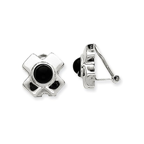 ICE CARATS 14k White Gold Omega Clip Black Onyx Non Pierced On Earrings Fine Jewelry Ideal Mothers Day Gifts For Mom Women Gift Set From Heart by ICE CARATS