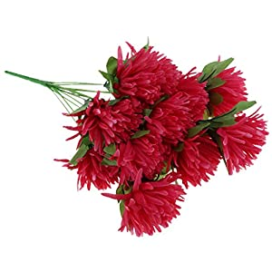 Homyl Artificial Chrysanthemum Flower Bouquet Cemetery Grave Home Table Decoration - Hot Pink 72