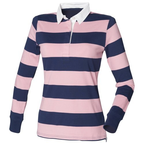 Front Row Womens/Ladies Striped Rugby Polo Shirt (S) (Navy/Pink) (Navy Womens Rugby)