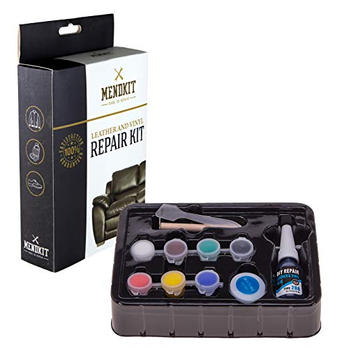 MendKit Leather and Vinyl Repair Kit for Smaller Repairs - Adhesive Putty Filler Glue, Patch Fabric and Tools - Restorer of Scratch or Crack on Your White Couch, Dark Black Sofa or Light Blue Car Seat