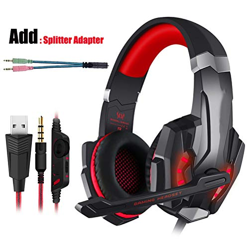 Price comparison product image Gaming Headset PS4 Earphone Gaming Headphone With Microphone Headphone For PC Tshirt, Red and Cable