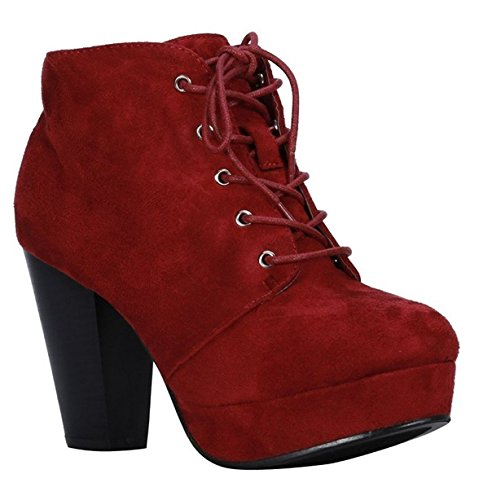 - ShoBeautiful Women's Ankle Boots Lace up Block Chunky Heel Dress Booties Comfort Party Shoes CM86 Burgundy 8