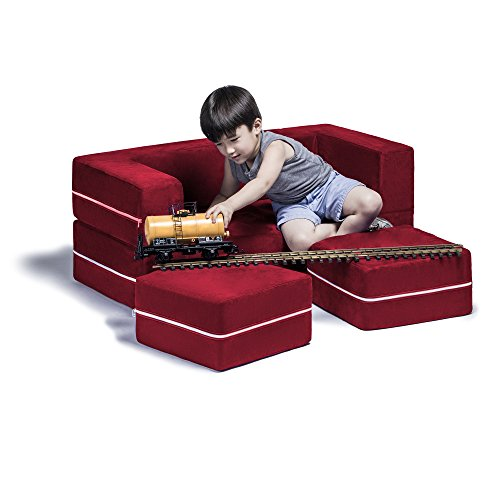 - Jaxx Zipline Kids Modular Loveseat & Ottomans/Fold Out Lounger, Cherry