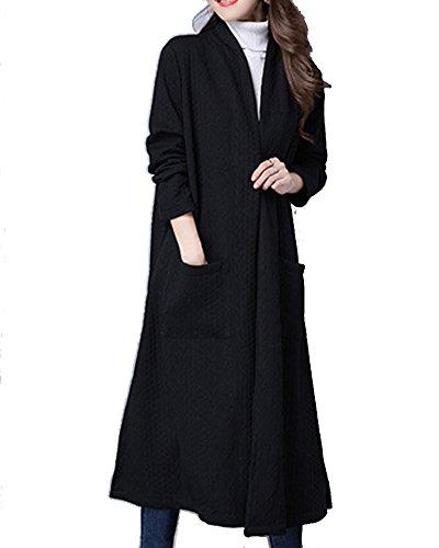 Vrac Grande Noir Kasen Longues Femme Poche Manches Veste en Unie Couleur WBpqAwC