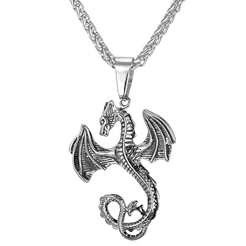 Gothic Dragon Pendant Plated Wheat