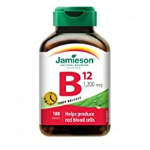 Jamieson Vitamin B12 (Cobalamin) 1200mcg, Timed Release, 180tablets