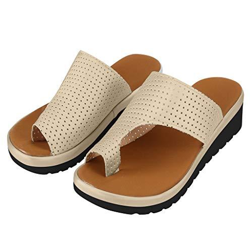 Platform Sandals for Women Summer Wedge Sandal Comfy Peep Toe Slippers Fashion Beach Ladies Casual Shoes 2019 New (42, Khaki)