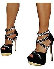 High Heels Sexy Goldkette Wasserplattform Große Bankett High Heel Sandalen