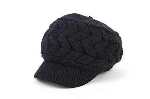 [YCHY Women girl's Winter Rabbit Hair Warm Knit Hat Thicken Ski Caps with Visor (black)] (90s Era Costumes)